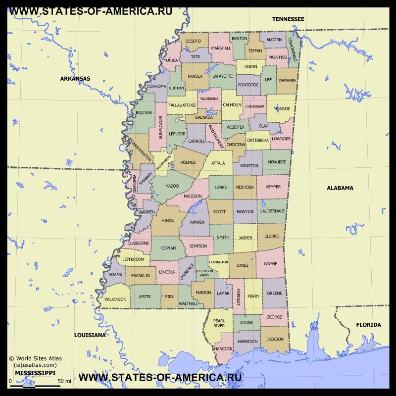 Карта Миссисипи по округам