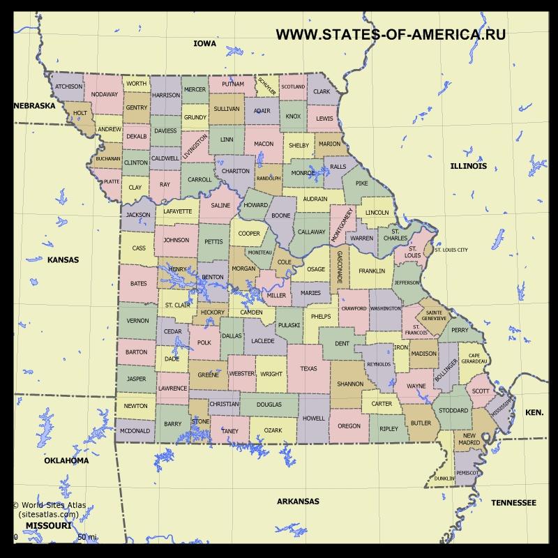 Карта Миссури по округам