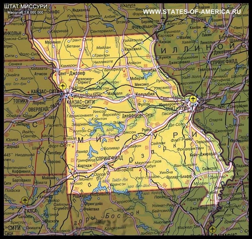 Физическая карта Миссури
