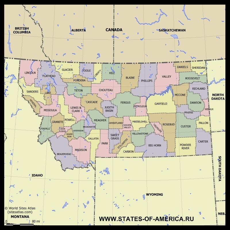 Карта Монтаны по округам