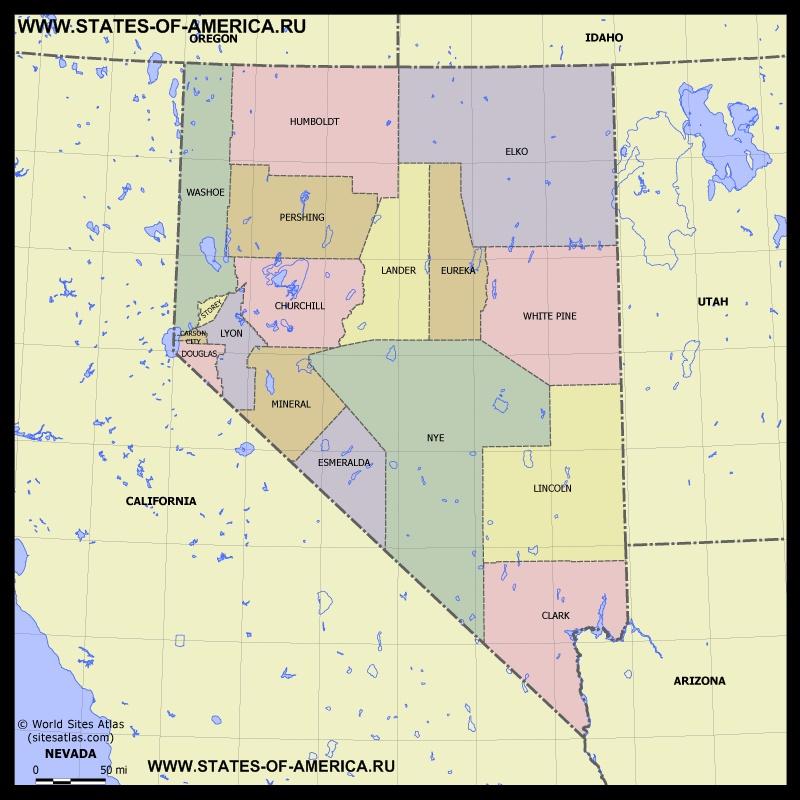 Карта Невады по округам