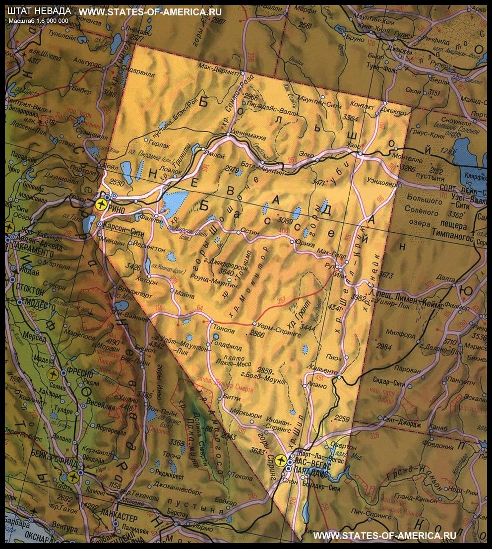 карта Невады