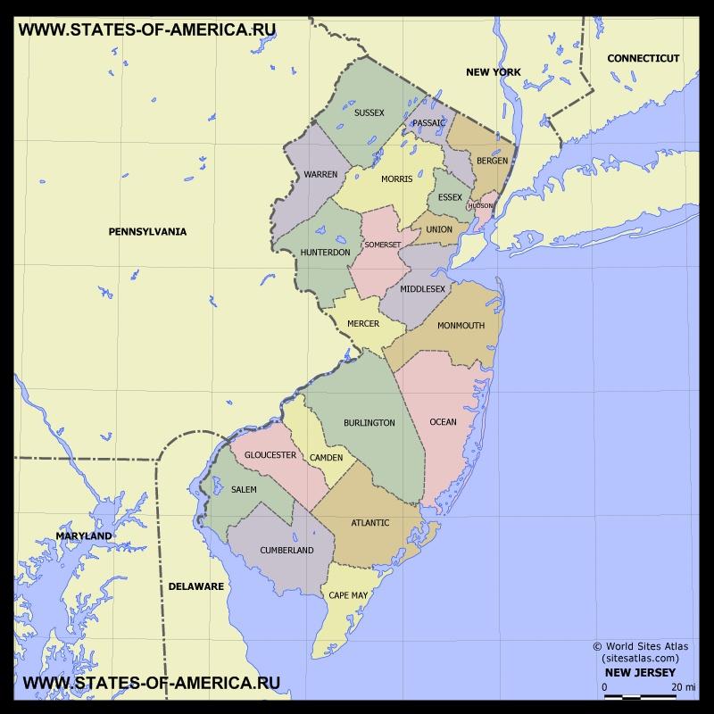 Карта Нью-Джерси по округам