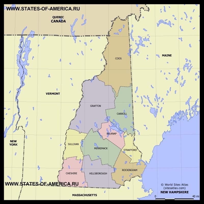 Карта Нью-Гемпшира по округам
