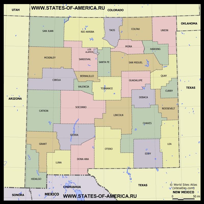 Карта Нью-Мексико по округам