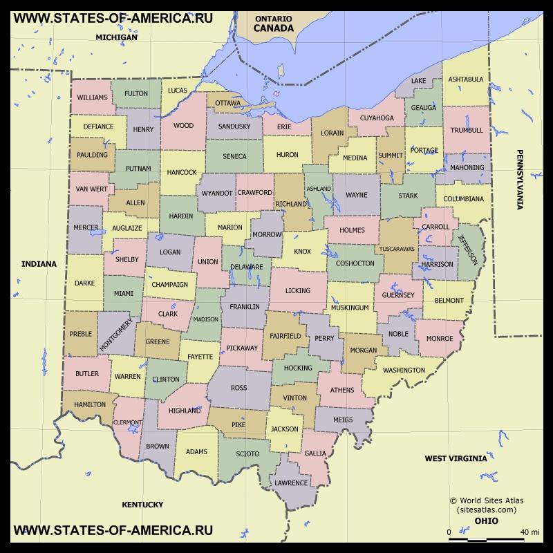 Карта Огайо по округам