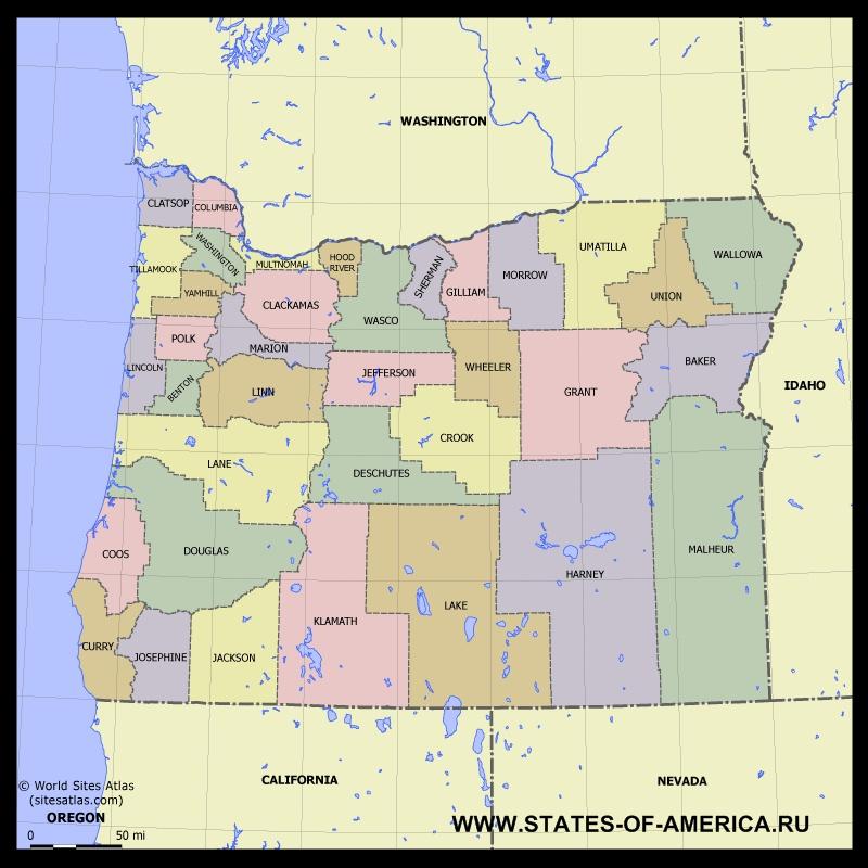 Карта Орегона по округам