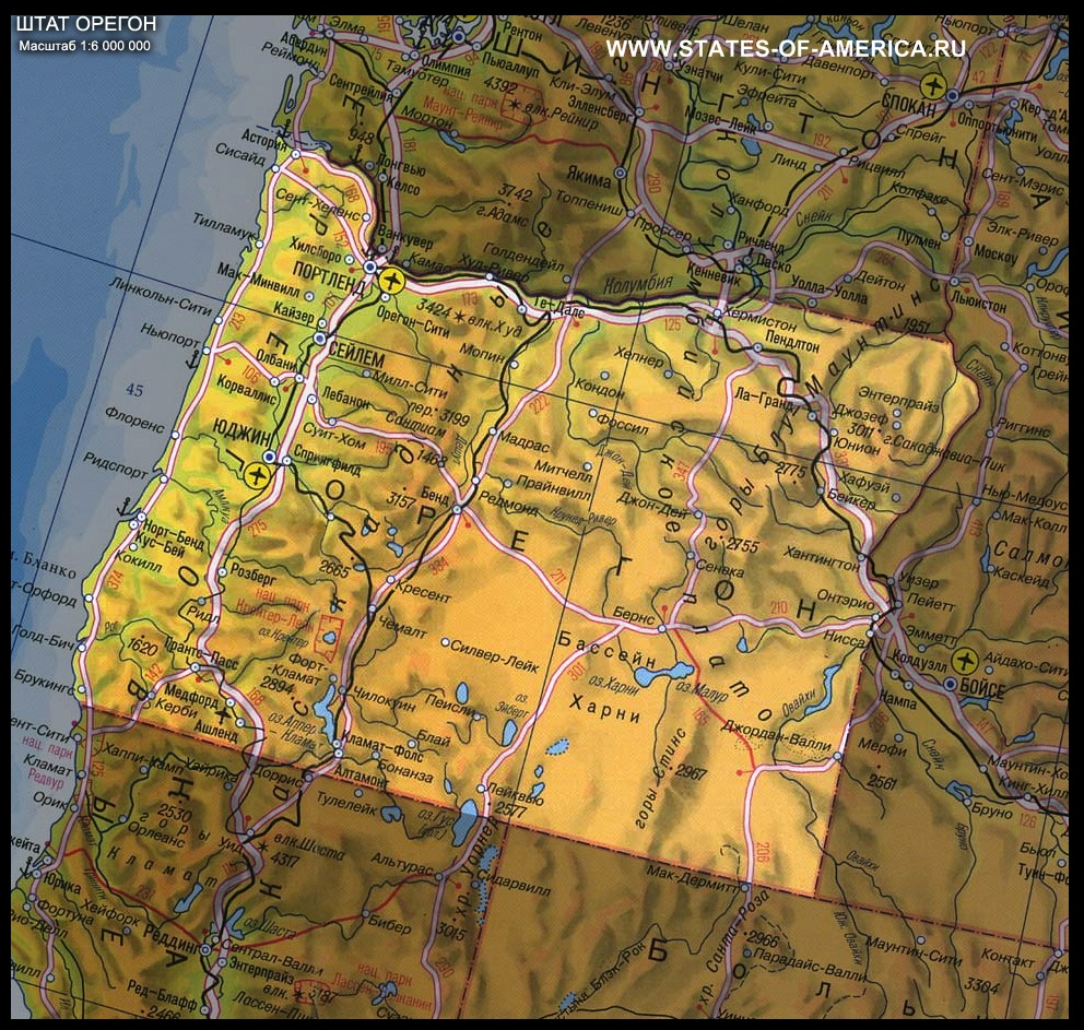 карта Орегона