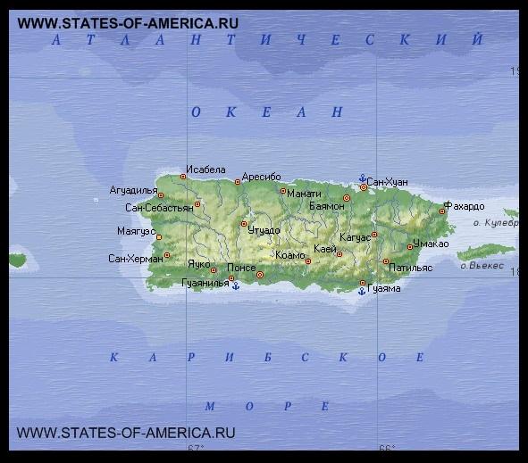 карта Пуэрто-Рико