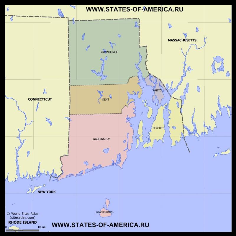 Карта Род-Айленда по округам