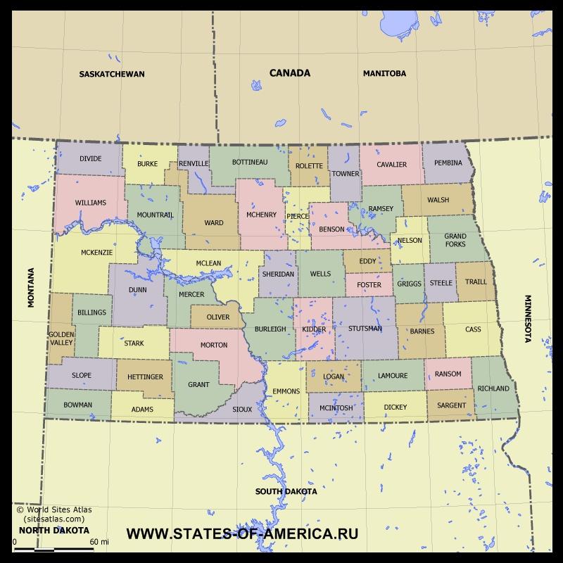 Карта Cеверной Дакоты по округам