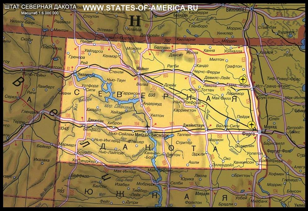 карта Cеверной Дакоты