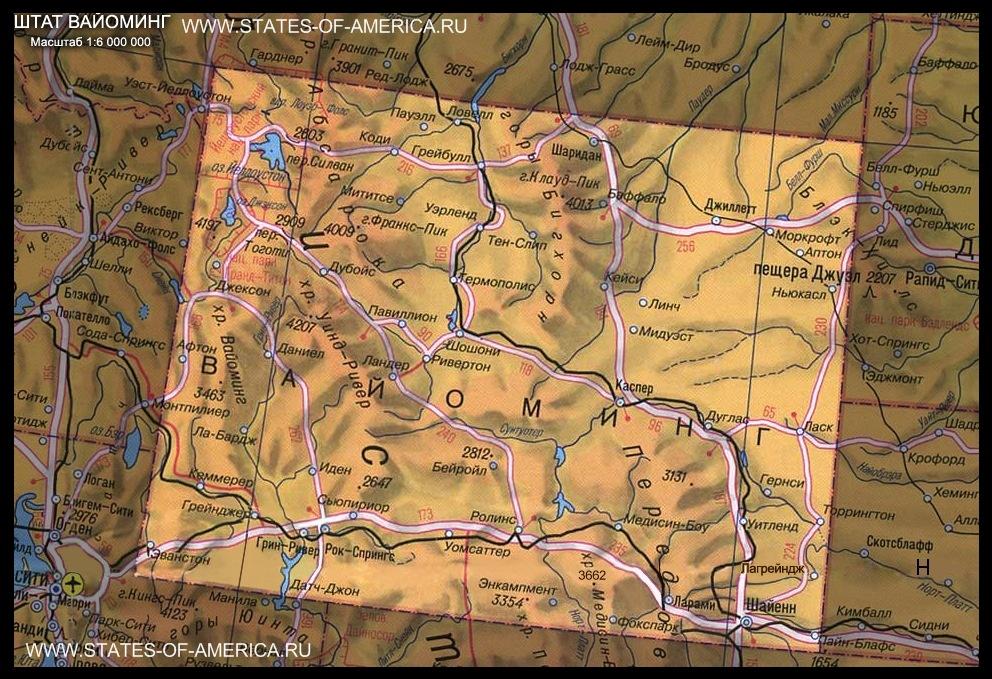 карта Вайоминга