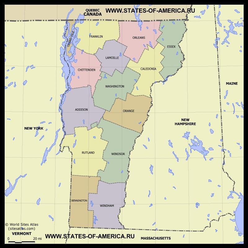 Карта Вермонта по округам