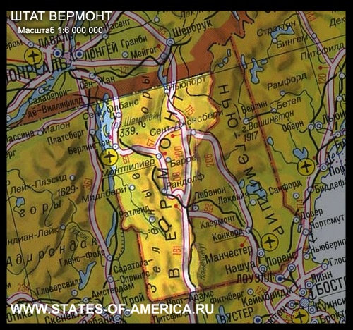 карта Вермонта