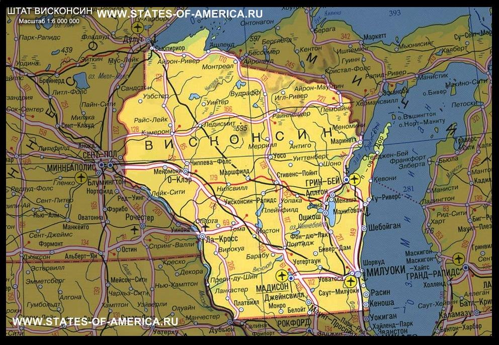 карта Висконсина