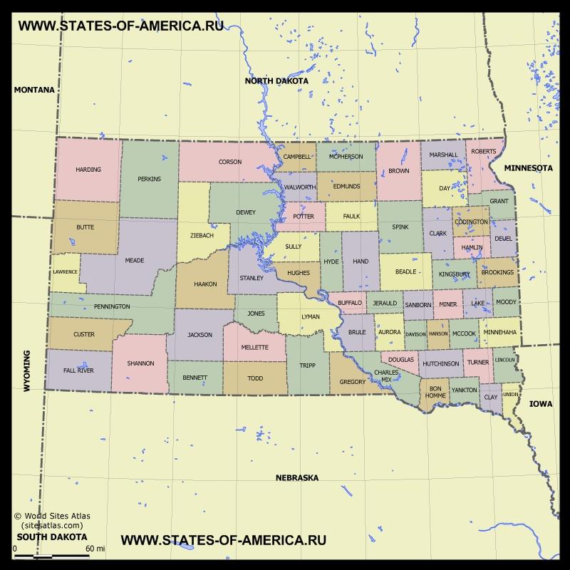 Карта Южной Дакоты по округам