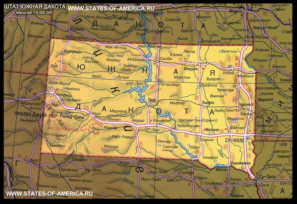 карта Южной Дакоты