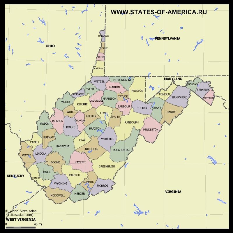 Карта Западной Вирджинии по округам