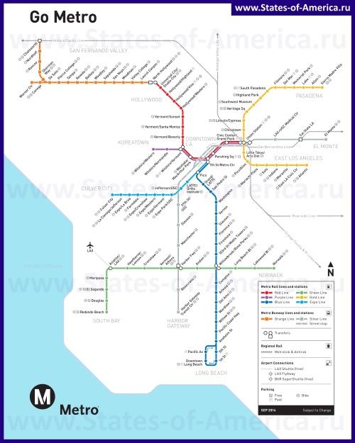 Схема метро Лос-Анджелеса