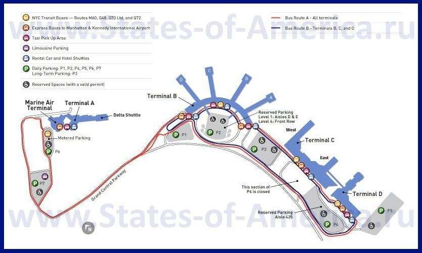 Схема аэропорта Ла Гуардия