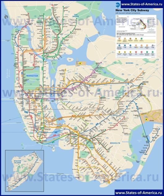 Схема метро Нью-Йорка