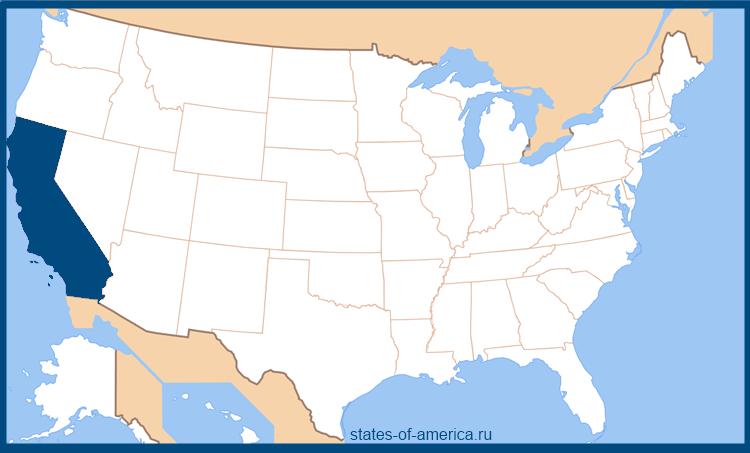 Штат Калифорния на карте США