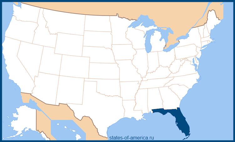 Штат Флорида на карте США