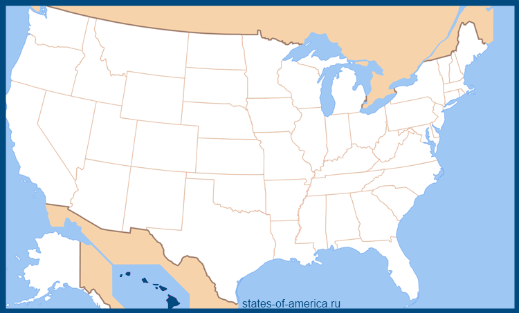Штат Гавайи на карте США