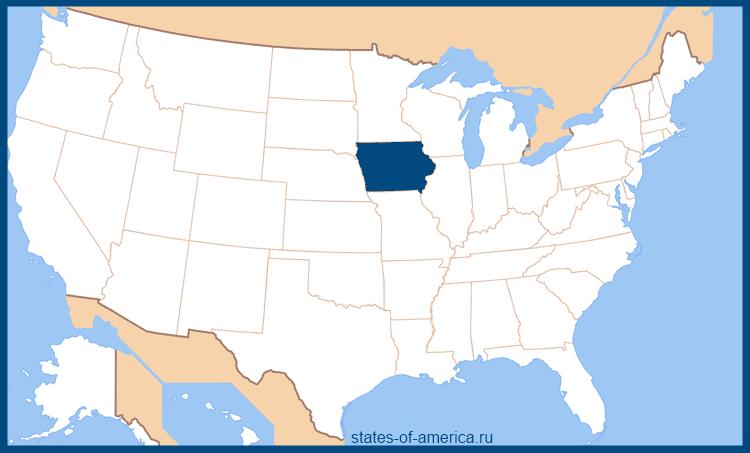 Штат Айова на карте США