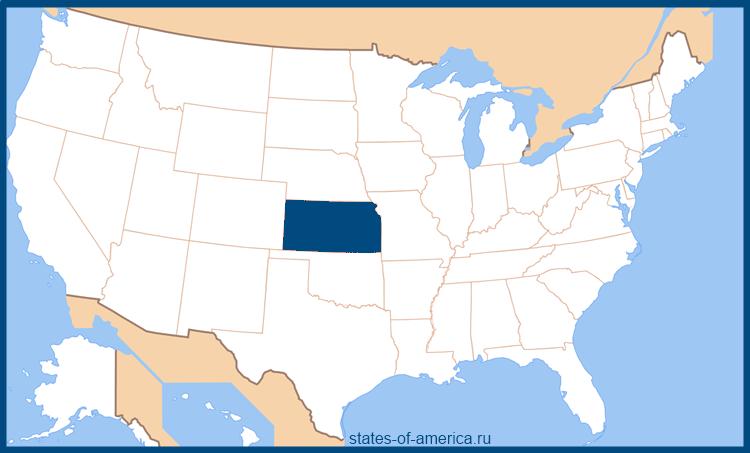 Штат Канзас на карте США