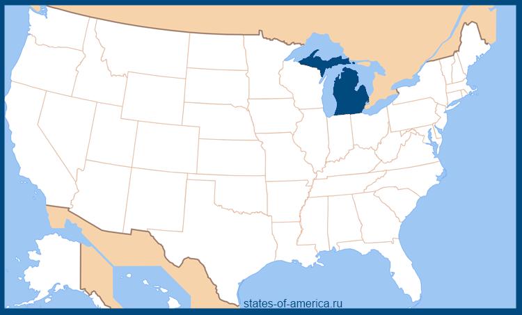 Штат Мичиган на карте США