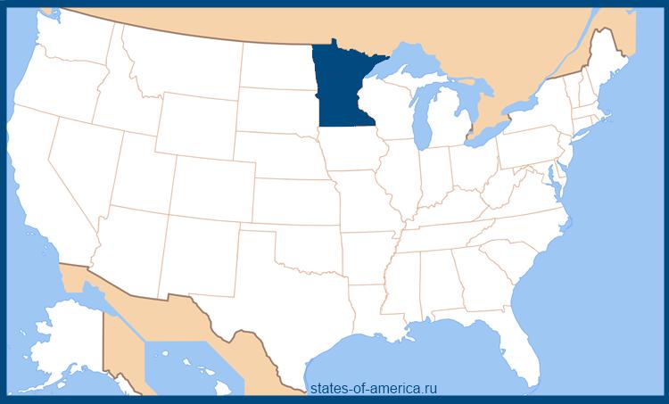 Штат Миннесота на карте США