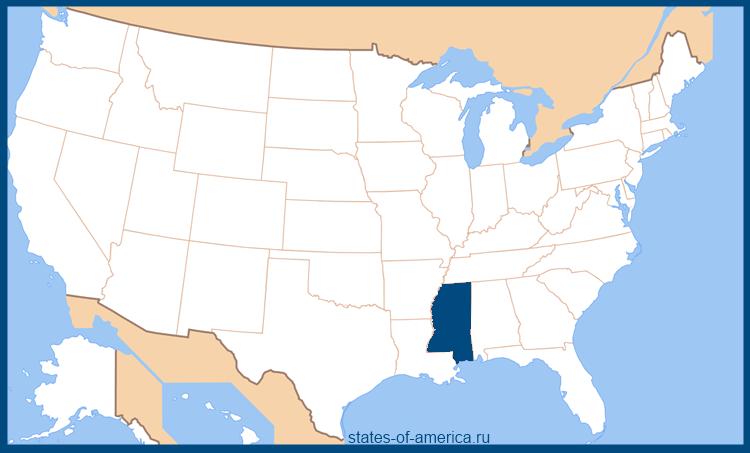 Штат Миссисипи на карте США