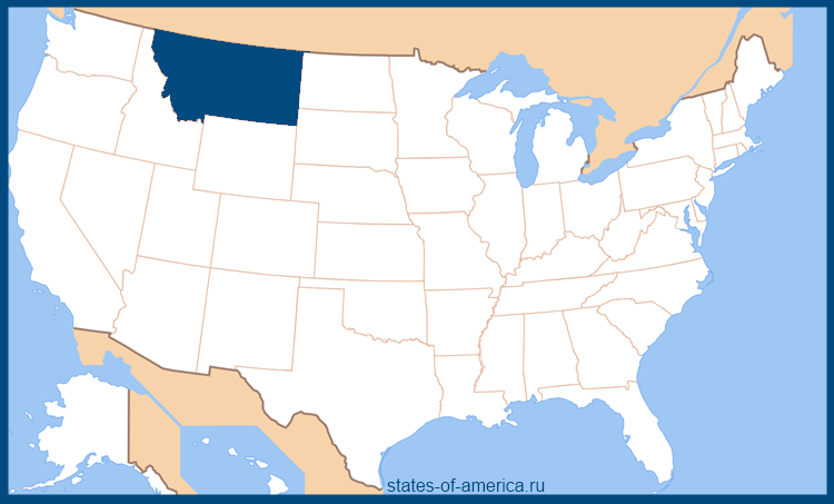 Штат Монтана на карте США