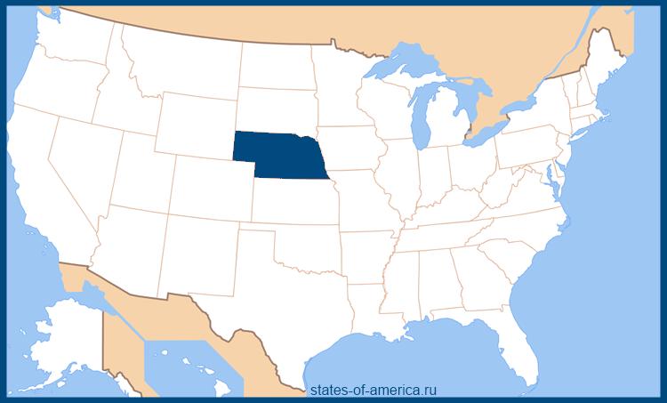 Штат Небраска на карте США