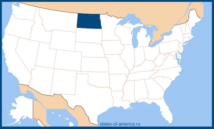 Штат Северная Дакота на карте США