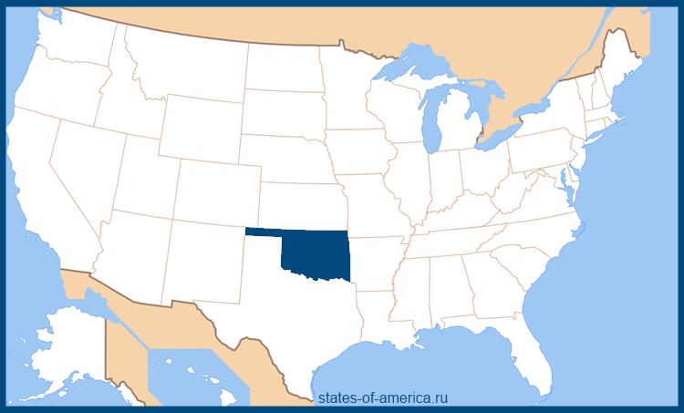 Штат Оклахома на карте США