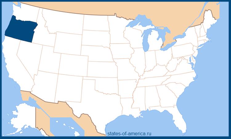 Штат Орегон на карте США