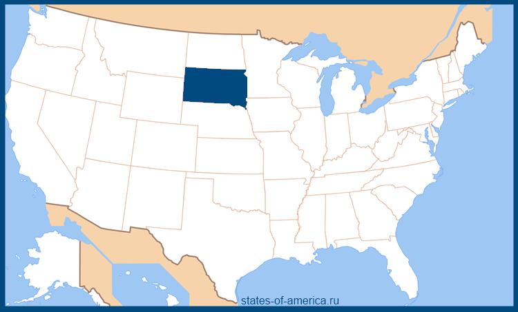 Штат Южная Дакота на карте США