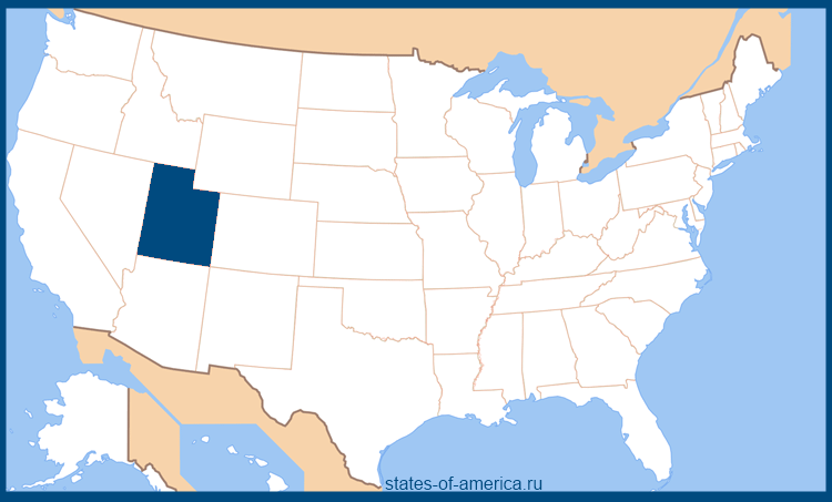Штат Юта на карте США
