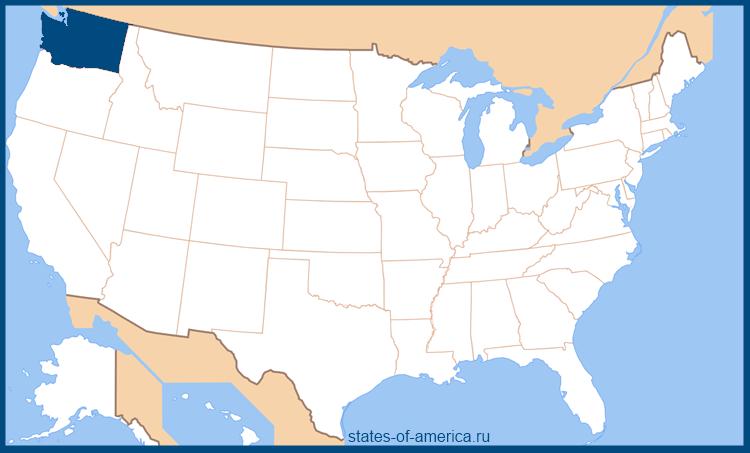 Штат Вашингтон на карте США