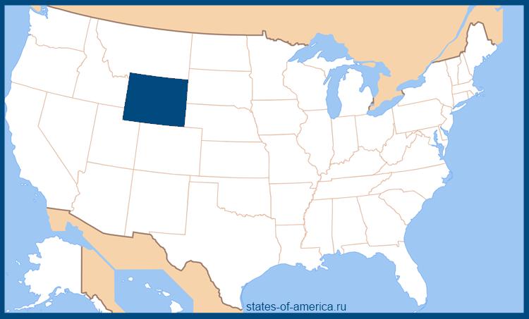 Штат Вайоминг на карте США